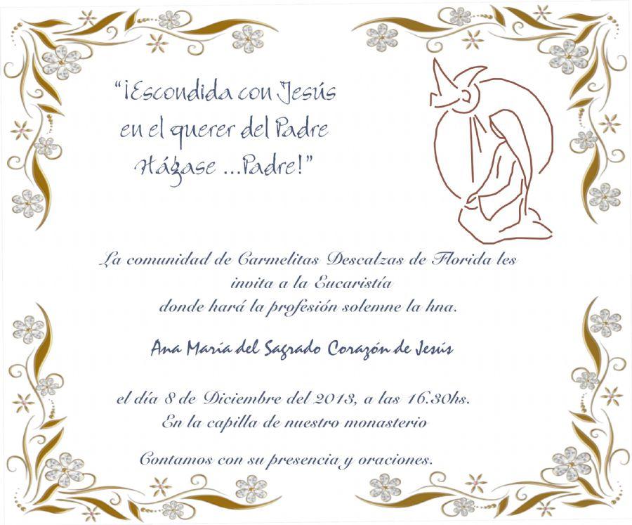 OCD Burgos - Carmelitas Descalzas - Invitación Profesión